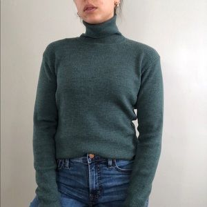 J. Crew Green Rib Knit Turtleneck Wool Sweater M